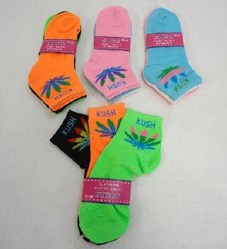 3pr Ladies Anklets 9-11 [Colored Sock w Three Color Leaf] KUSH